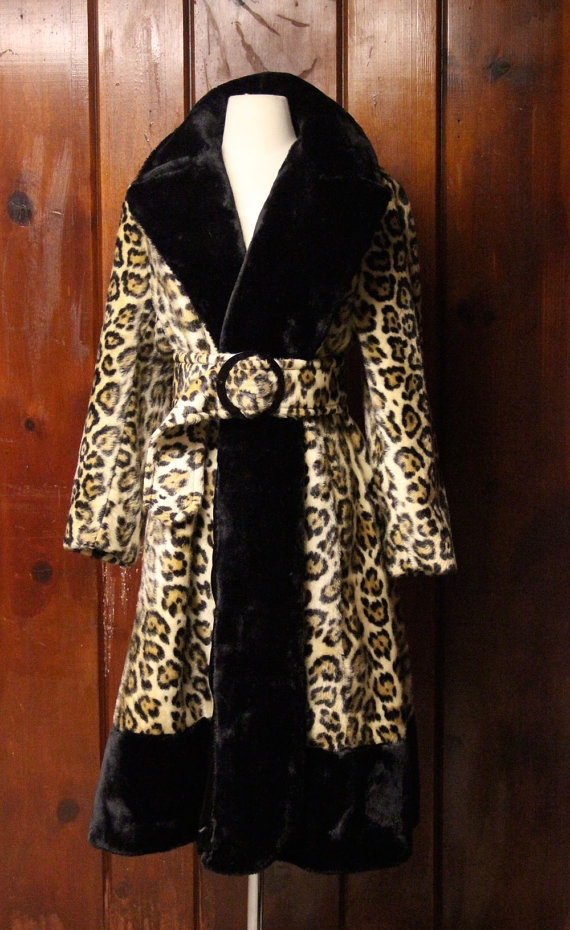 1970s leopard coat / vintage faux fur animal print coat / womens