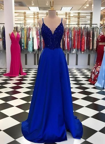 Abito da sera sexy con scollo a V blu royal, abito da sera con spalline sottili