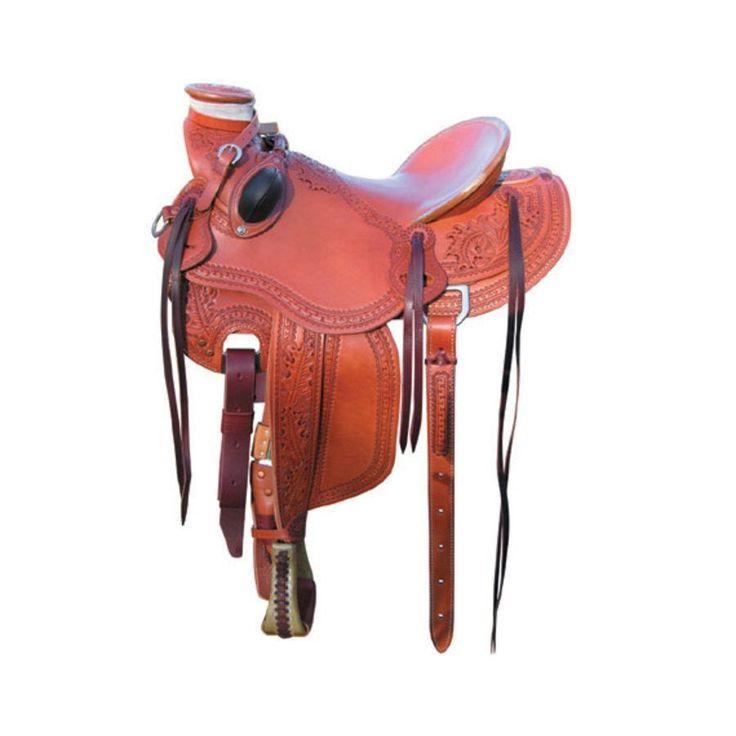 Sella western Bowman modello Mike Branch Wade Rancher interamente artigianale, arcione in pino rivestito in pelle e con lavorazione border stamp.