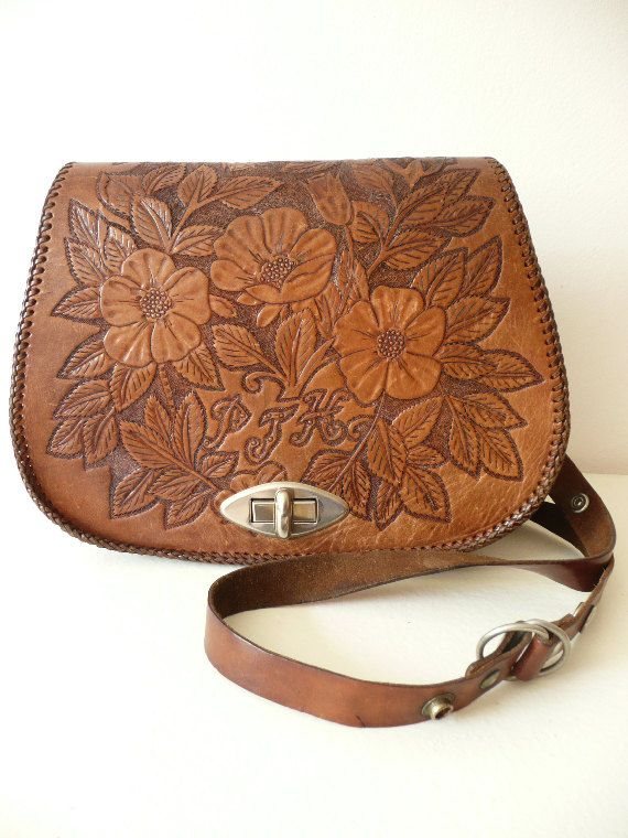 Beautiful Genuine Vinatge 1970 Leather Handbag !  Amazing and rare embossed/ tooled intricate Flowers designs on both sides of the bag.