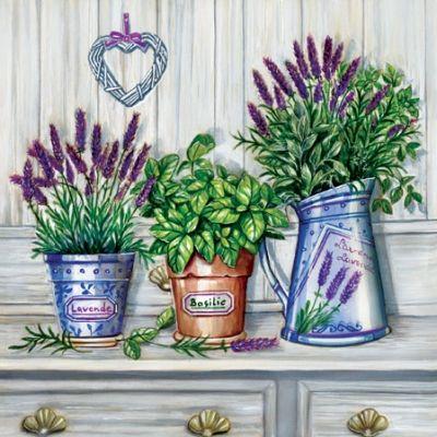 napkins / motives,  Plants - kitchen-herbs,  Flowers - lavenders,  Everyday,  lunchnapkins,  lavender,  basil