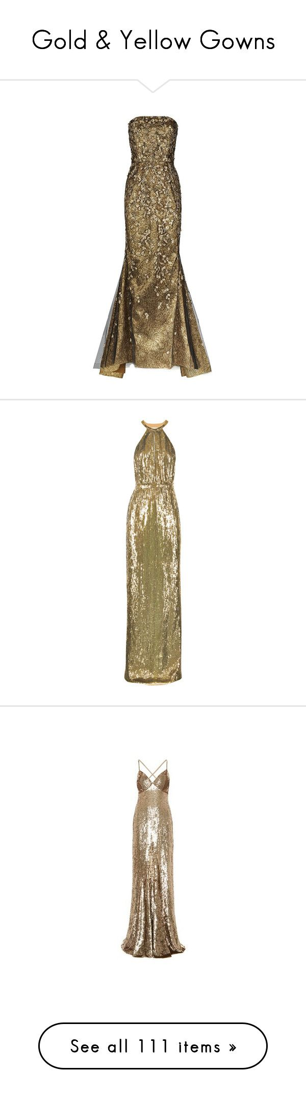 """""""Gold & Yellow Gowns"""" by sakuragirl ❤ liked on Polyvore featuring dresses, gowns, long dresses, evening gowns, oscar de la renta, long formal evening dresses, oscar de la renta dresses, brown dress, brown formal dress and beaded evening gowns"""