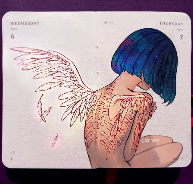 Back Tattoo - I had the image of wings coming out of her bones/wing tattoos in my head. that'd look like a pretty cool animation scene...in my head. If I had the energy or time xD;;. (Also animation is so tedious and hard and I'm lazy -w-;;;)