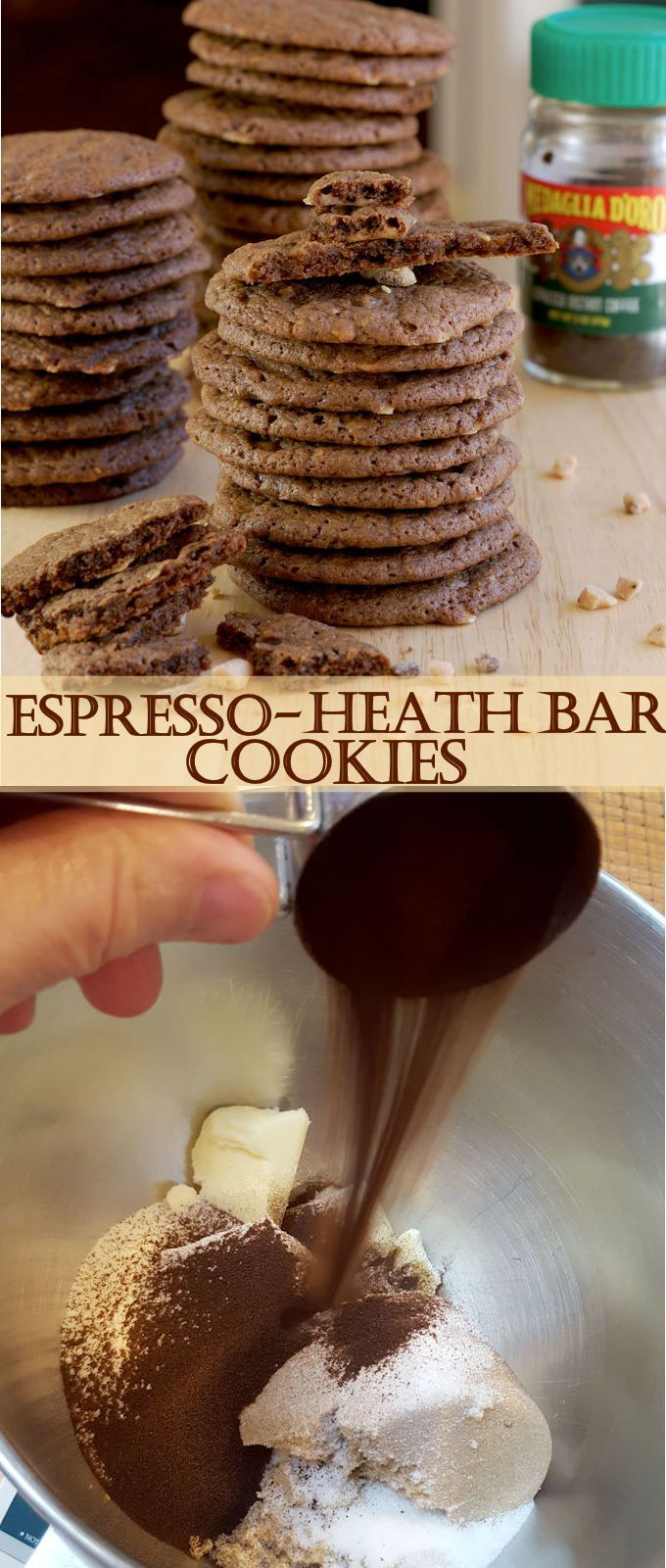 Espresso Heath Bar Chunk Cookies are thin, crisp and loaded with crunchy toffee bits. With plenty of espresso flavor, this is a cookie for grown ups.