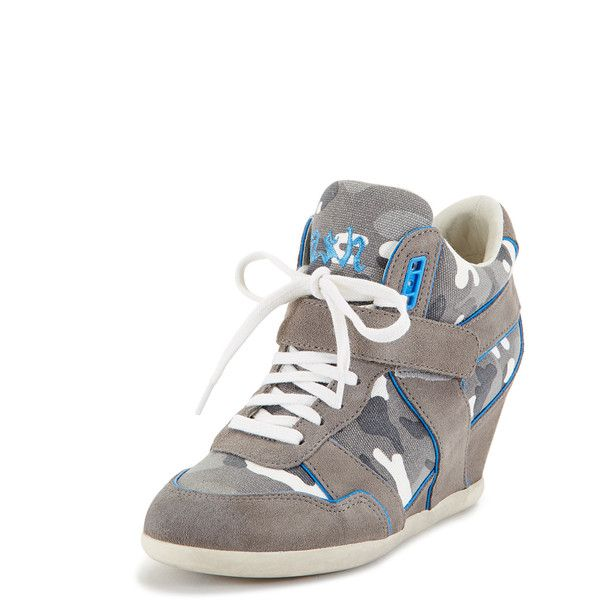 Ash Women's Bisou Ter Wedge Sneaker - Grey, Size 35 ($25) ❤ liked on Polyvore featuring shoes, sneakers, grey, leather shoes, wedge heel sneakers, gray sneakers, gray wedge sneakers and leather wedge sneakers