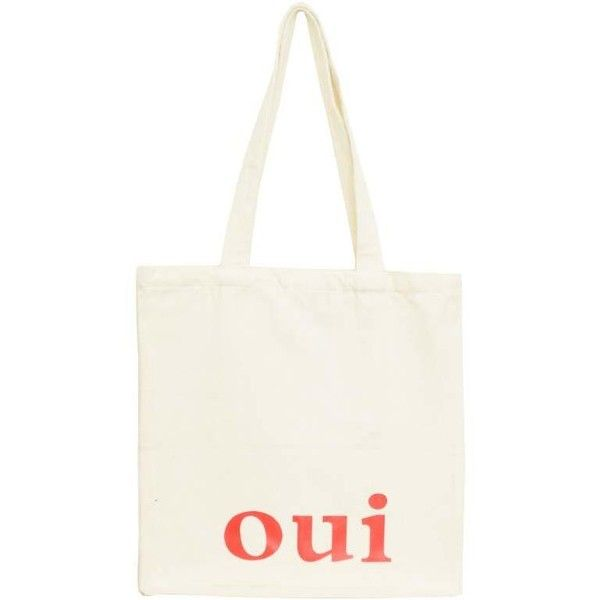 OUI TOTE BAG (2.525 HUF) ❤ liked on Polyvore featuring bags, handbags, tote bags, accessories, purses, totes, handbag purse, white tote, white purse and white handbag
