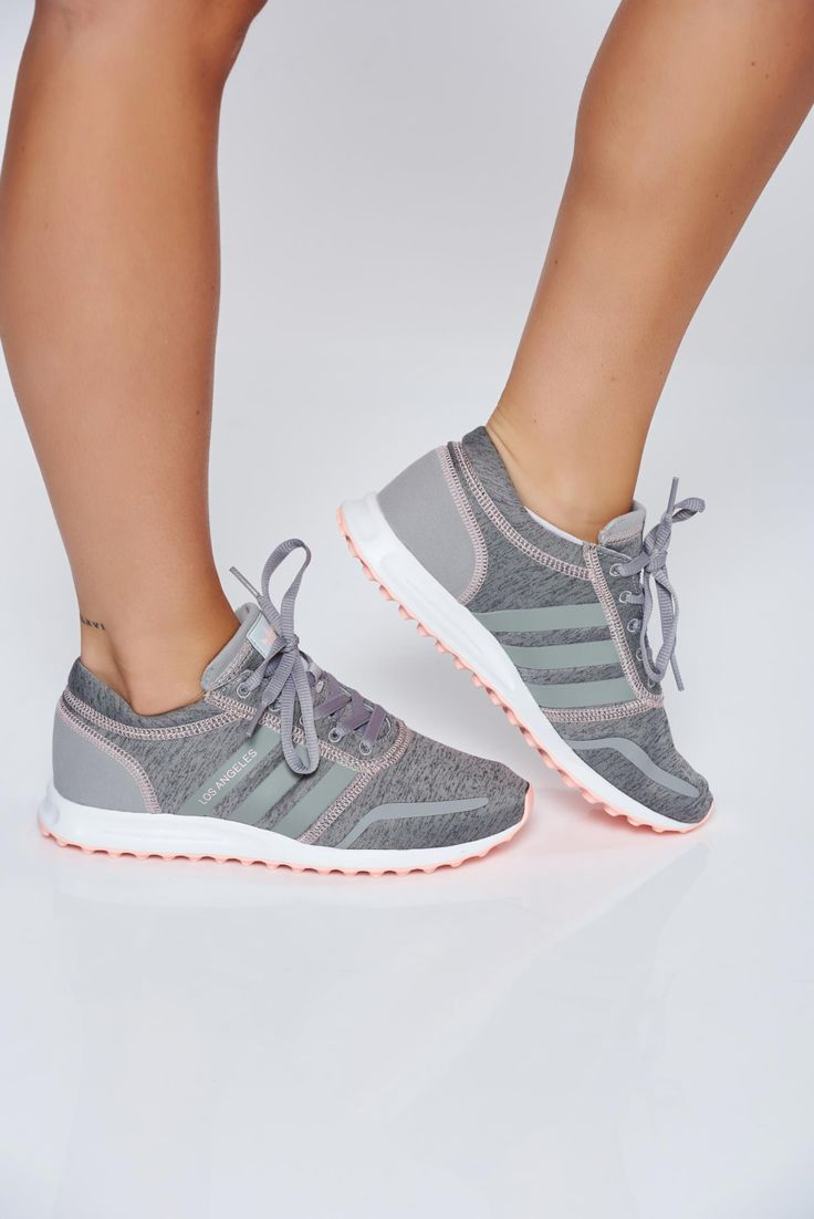 Originals Adidas grey casual sneakers with lace and light sole, vertical stripes, insole material: fabric textil, Originals, with lace, light sole, low heel, manufactured fabric sole
