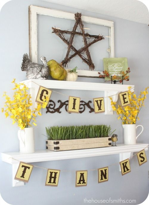 Thanksgiving Banner Draped Over Shelving   Try Command™ Clear Decorating  Clips So You See The