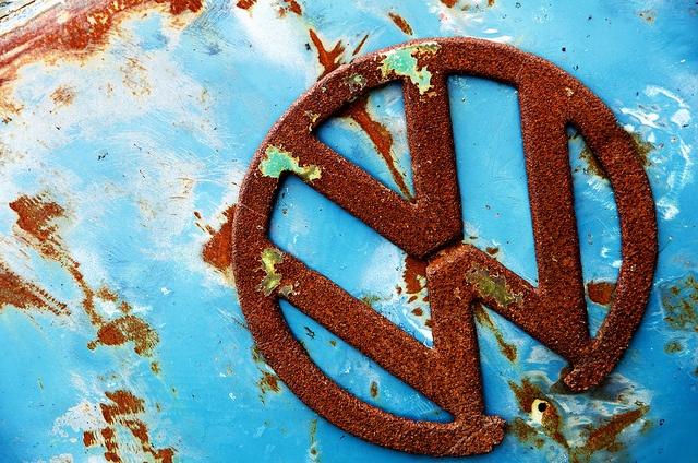 Copper & Verdigris inspiration   VW Badge ~ Rusty + Blue by theaspiringphotographer, via Flickr