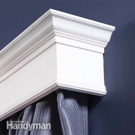 How to Build Window Cornices Curtain rods, Close up and