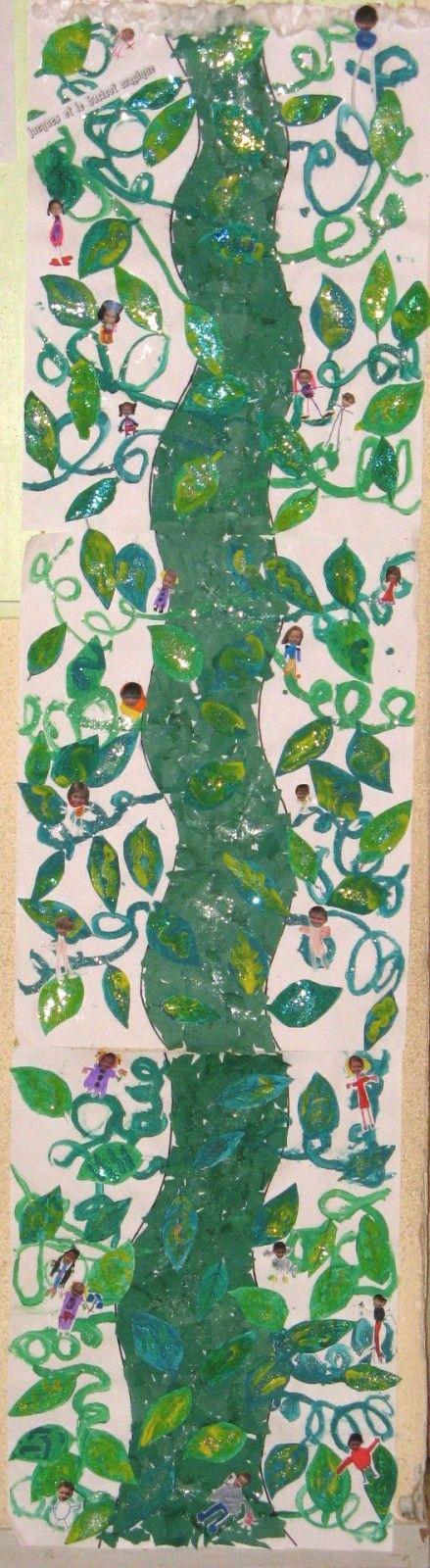 Les stagiaires ont travaillé sur l'album&Jacques et le haricot magique& un classique de la littérature enfantine, voici le volet artistique de leur projet; qui est d'ailleurs affiché sur le mur à côté de la porte de notre classe, il mesure près de 2 m...