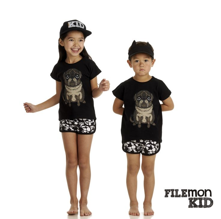 T-shirt Pug, 100% organic cotton, GOTS certified.  Size 80/86-128/134