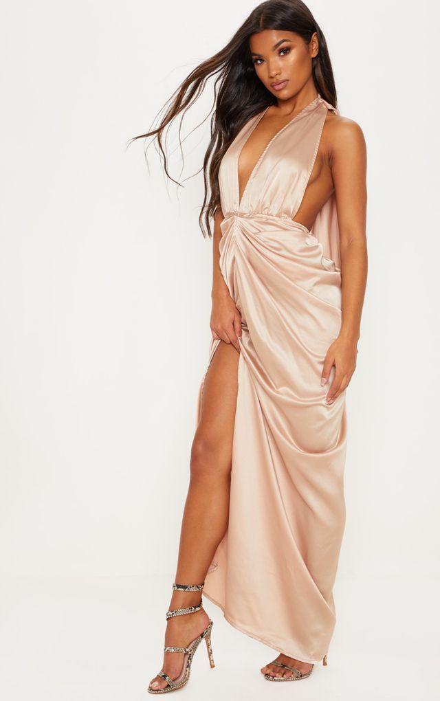 10+ Champagne satin maxi dress inspirations