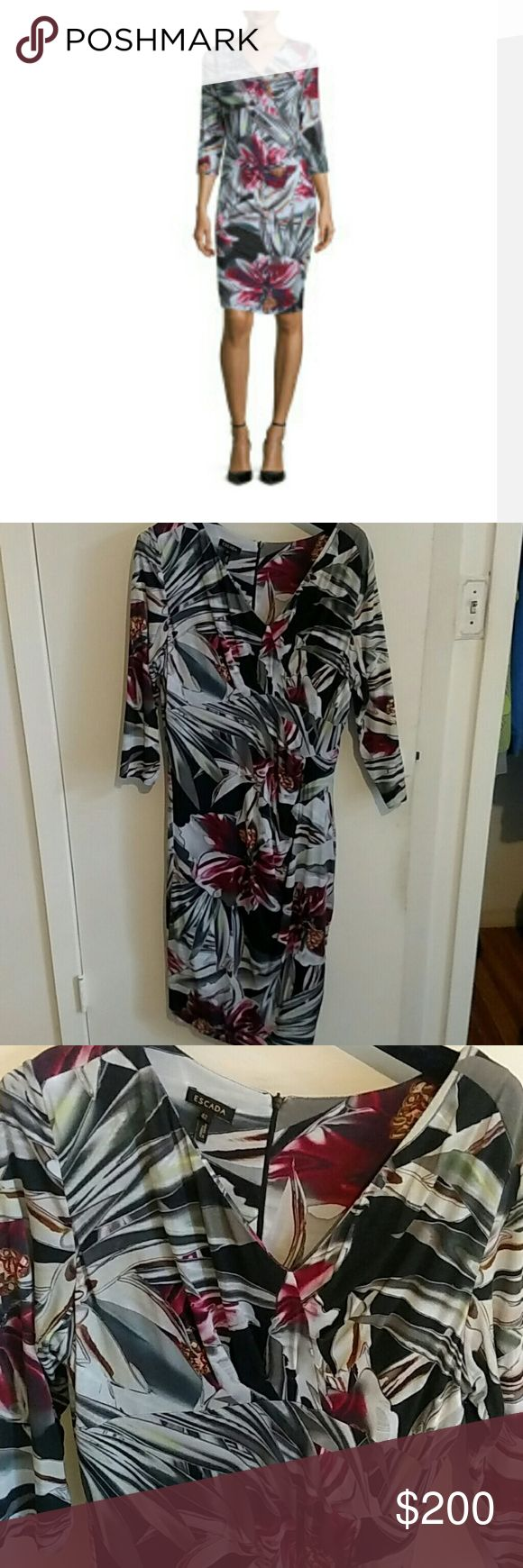 Escada dress Lovely Escada sheath dress 3/4 length.   Authentic.   US Size large  Bust.   40-41.5 inches Waist. 32-33.5 inches Hips    41.5-42. 5 inches German 42 US size 12. UK size 16. Fr size 44 IT size 48 Escada Dresses