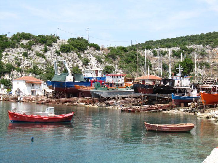 Boatyard in Agia Kiriaki, Pelio, Greece