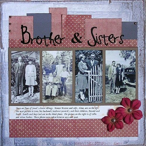 Brother & Sisters ~ Heritage siblings page with a simple, layered background.