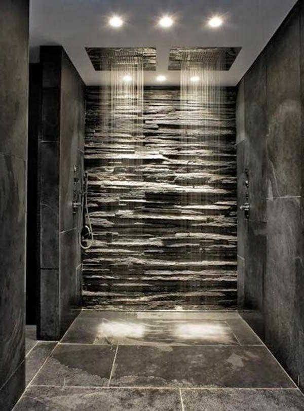 douche pluie, parement mural en pierre