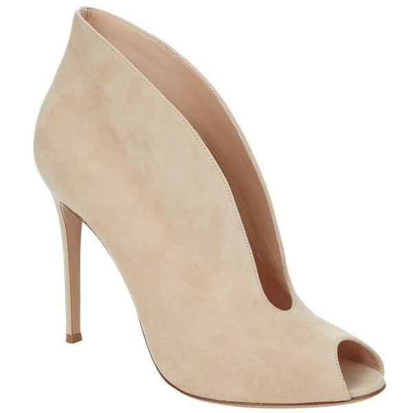 Gianvito Rossi Lombardy V-Front Peep Toe Stiletto (1,040 CAD) ❤ liked on Polyvore featuring shoes, pumps, heels, gianvito rossi pumps, stiletto heel shoes, stilettos shoes, cocktail shoes and stiletto heel pumps