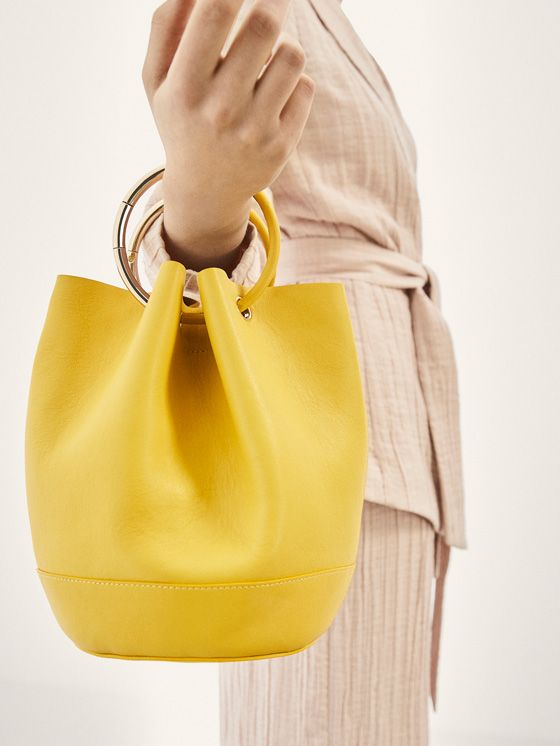 Spring Summer 2018 Women´s LIMITED EDITION LEATHER BUCKET BAG WITH GOLD DETAIL at Massimo Dutti for 250. Effortless elegance!
