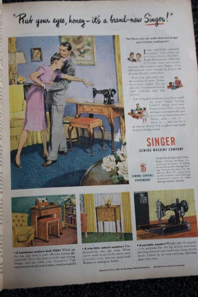 Singer Sewing Machine Center 1946 Vintage Magazine Ad Advertising Print Singer Singer Sewing Machine Company Singer Sewing Machine Singer Sewing