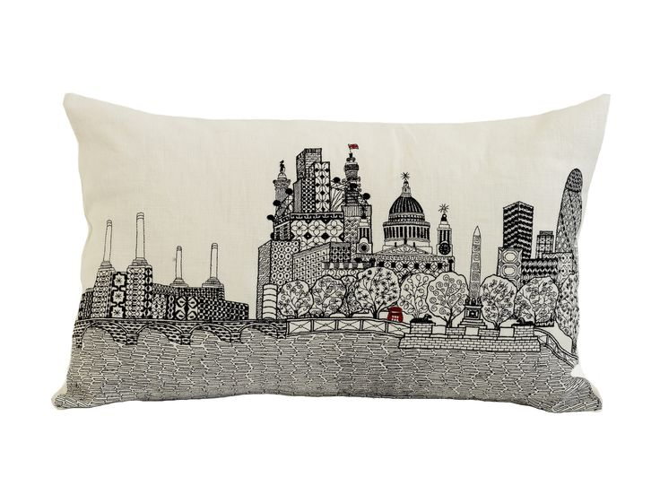 London Calling cushion from the Scenic range. Machine embroidery on white 100% linen. Available to buy from:  www.charlenemullen.com
