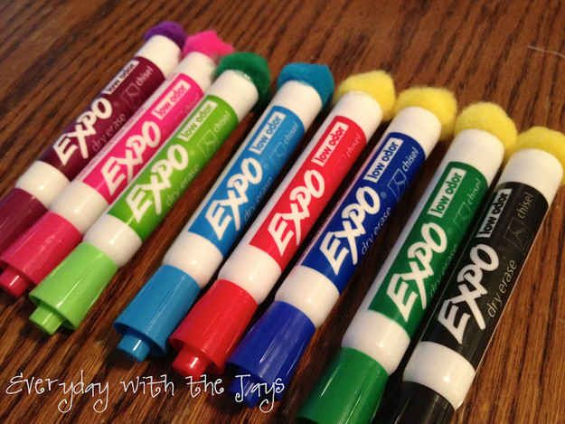 Pom poms glued to the end of dry-erase markers make cheap and effective erasers.   35 Money-Saving DIYs For Teachers On A Budget