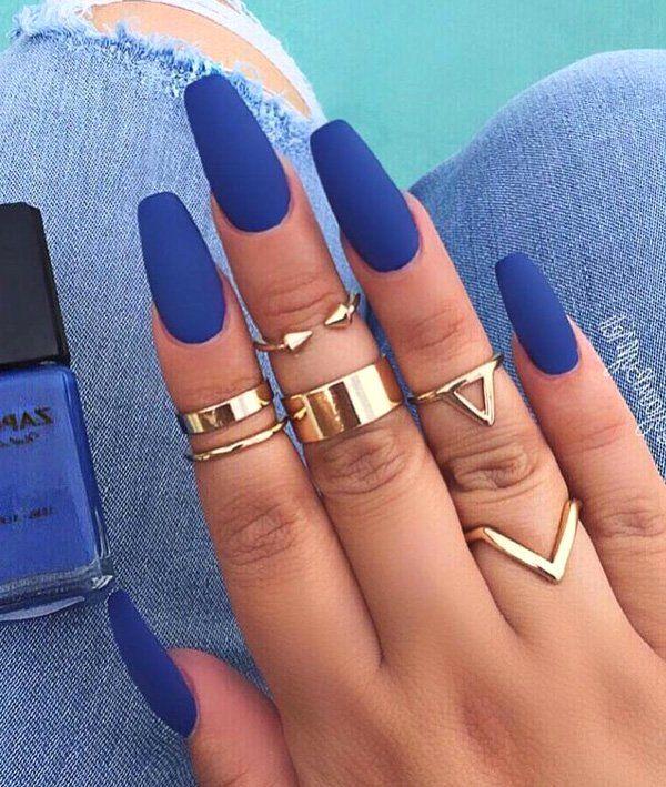 60 Dark Nails For Winter Blue Matte Nails Coffin Nails Matte