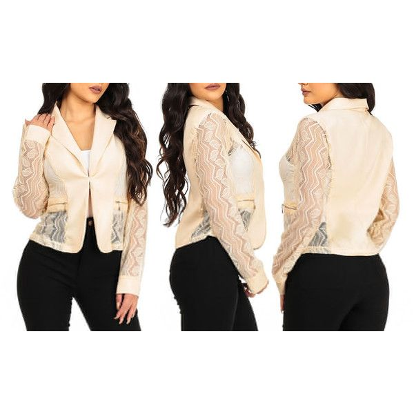 Women's ModaXpressOnline.com Women's Juniors Lightweight Lace Blazers ($18) ❤ liked on Polyvore featuring outerwear, jackets, blazers, beige, beige jacket, long lightweight jacket, beige long jacket, long sleeve blazer and lace blazer