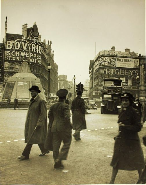 Piccadilly Circus, London, WWII.