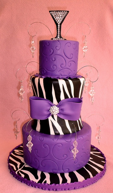 Purple with Embossed Swirls, Zebra Print and Jewels Cake with Bling Martini Topper