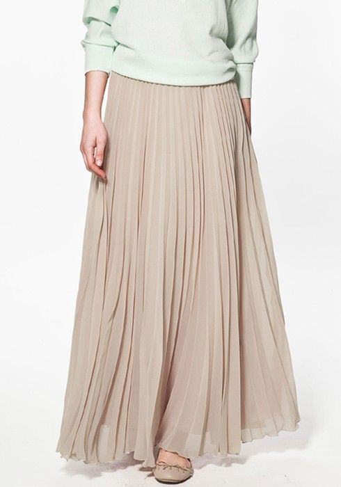 Nude Pleated Chiffon