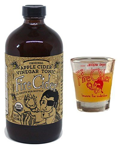16 Oz. Fire Cider Apple Cider Vinegar & Honey Tonic. With Free Dosage Shot Glass (Original Flavor)