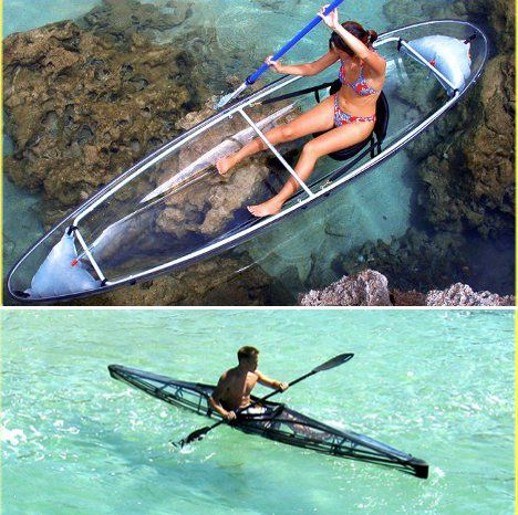 Clear canoes and kayaks--apparently the clear kayak can fold up to be portable, which sounds super amazing, but $4124.00 seems like an expensive kayak! :0