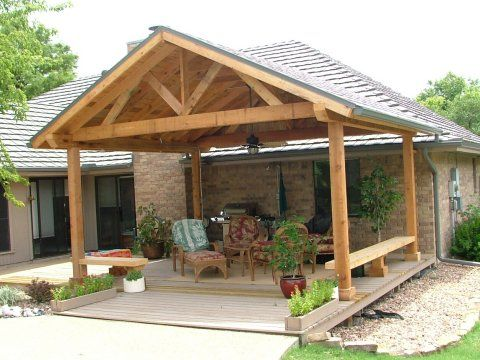 patio cover design idea. Perfect for my house. Love the built in benches                                                                                                                                                     More