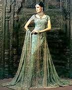 Rich & Royal Silver Green Indian Wedding Couture by Soma Sengupta