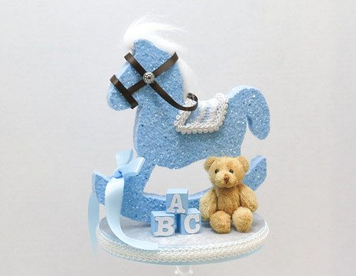 Rocking horse cake topper with ABC Blocks and by EllasPartyDesigns