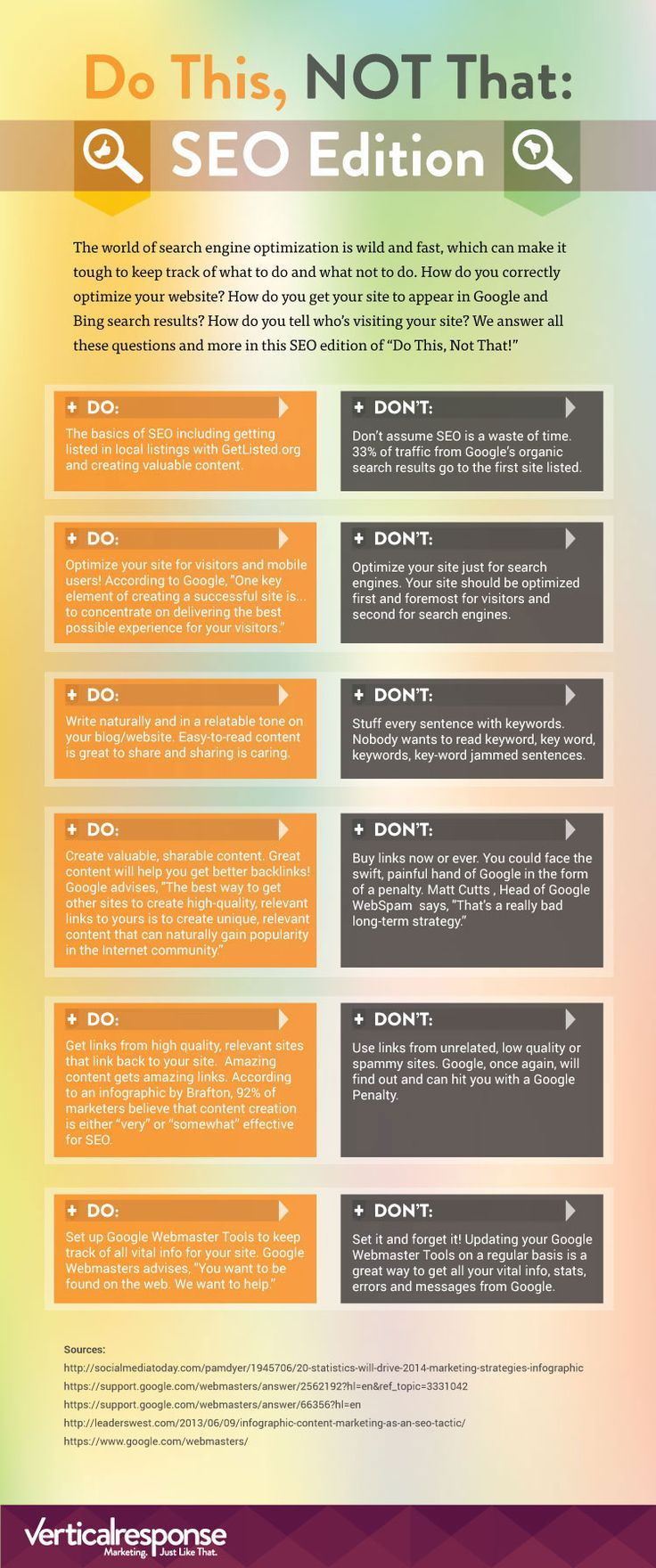 [INFOGRAPHIC] SEO: Do This, Not That: Local listings; Optimization; Content; Links; Webmaster tools; Details.