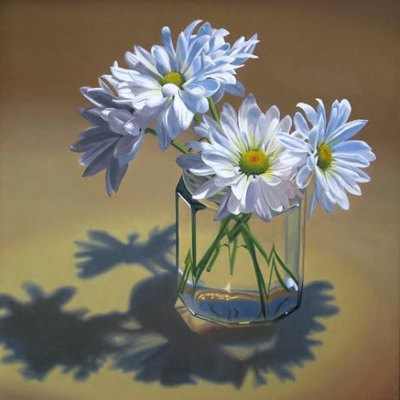 """""""White daisies in glass jar"""" By Nance Danforth, from Port Richey, Florida, US - oil on canvas, 30 x 30 in -"""