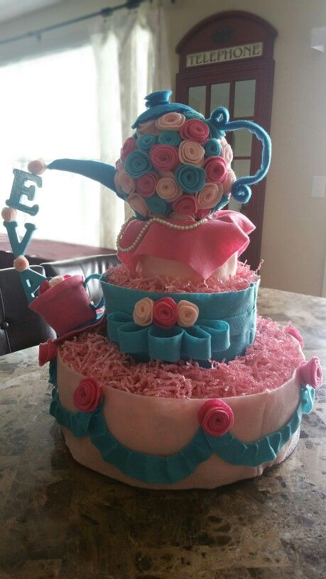 Tea party inspired diaper cake