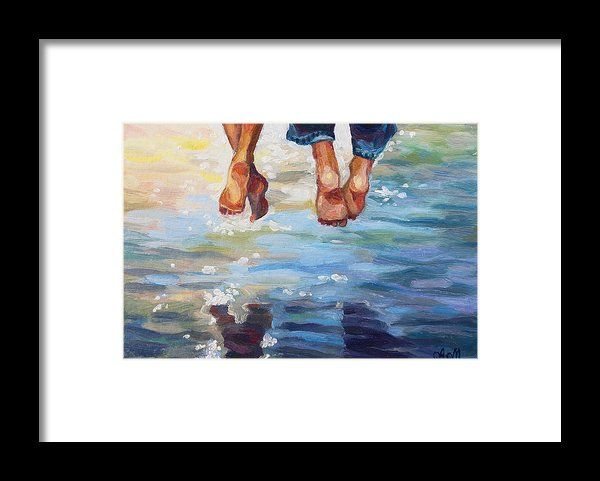 SIMPLY TOGETHER by ALINA MALYKHINA.   Belongs to the Gallery RUSSIAN ARTISTS NEW WAVE!.  Sunny summer day joy of couple sitting over the water. #RussianArtistsNewWave #AlinaMalykhina #Water #Summer #Love #Joy #Art #Painting #ArtForHome #Prints #FramedPrint