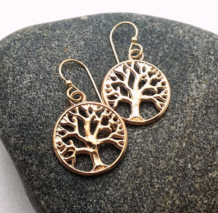 Gold Tree of Life earrings - Tree dangles - Family Tree earrings - gold tree of life - gifts under 20 - everyday tree earrings by thewingedscarab on Etsy