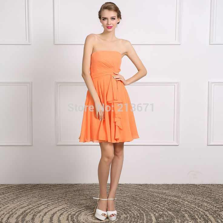 Baijinbai Real New Style Custom Short Orange Homecoming Dresses 2017 Vestido De Festa Strapless Chiffon Draped Party Dress711303