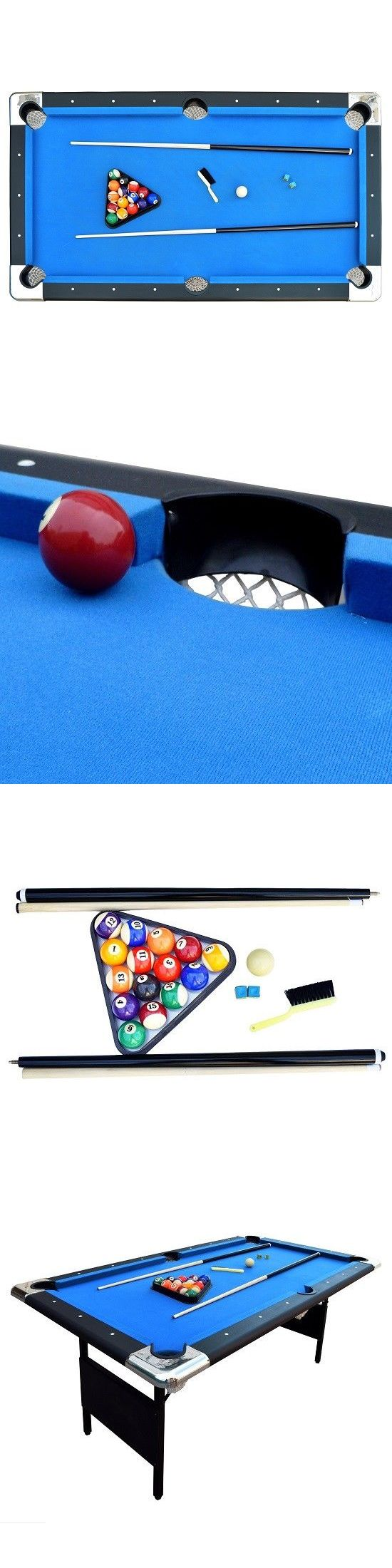 Tables 21213: Portable Pool Table Billiard Game Play Rope Net Pocket Folding   U003e BUY