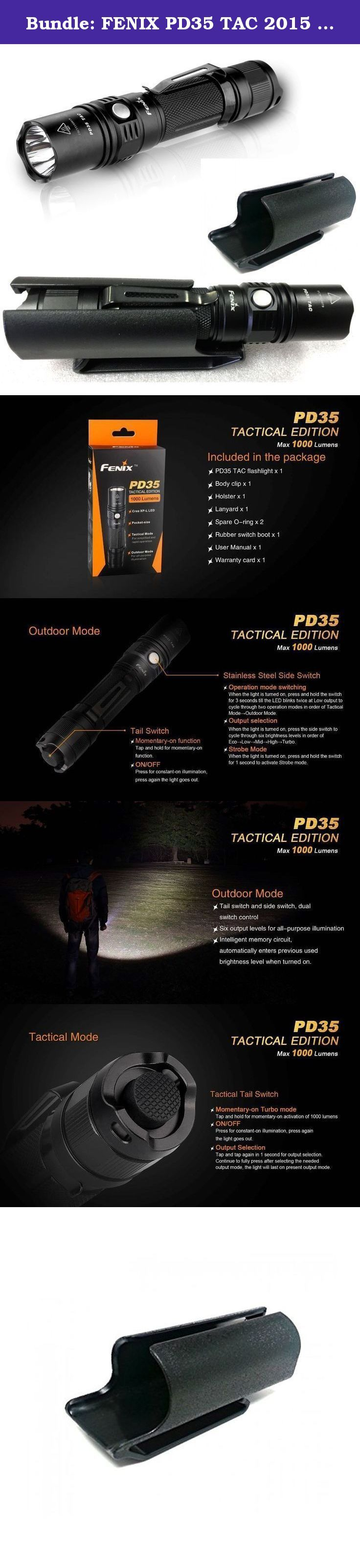 Bundle: FENIX PD35 TAC 2015 Tactical Edition 1000 Lumen CREE XP-L LED Flashlight with Clip-on Kydex Hard shell Holster. The PD35 TAC (Tactical Edition) remains a pocket size but has a higher performance and focuses on tactcial employment. Measured at less than 5.51 inches, it features up to a 1000-lumen output and has a beam distance of up to 656 feet. In the Outdoor Mode, the PD35 TAC delivers 6 output modes. However, the Tactical Mode strengthens the PD35 TAC with simplified and fast...