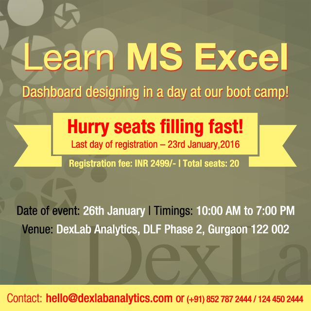#DexLabAnalytics offers an amazing opportunity for aspiring #MSExcel enthusiasts to further hone Excel skills, with industry-grade, high quality Dashboard designing abilities .