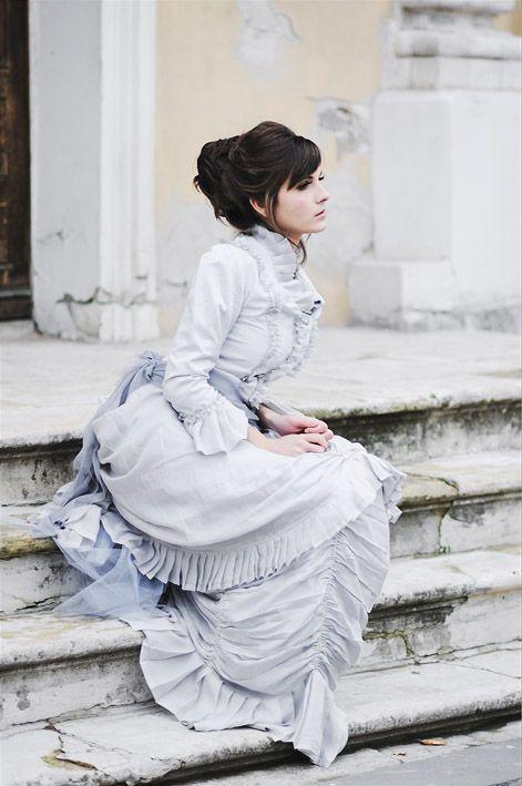 Купить Викторианское платье - викторианский стиль, викторианская эпоха, свадебное платье, голубой, натуральный шёлк