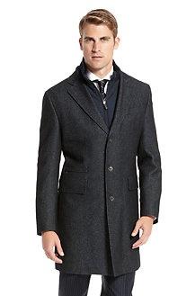 Boss Selection: Wool Blend 'Lonso' Detachable Lining Tweed Coat  #Aim2Win