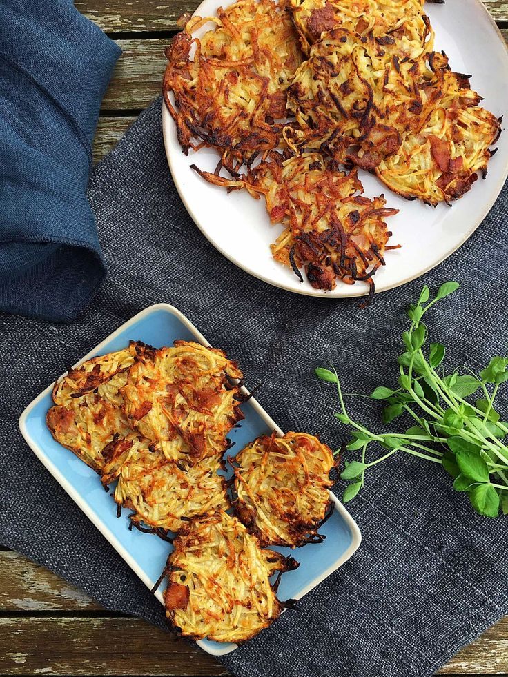 Celeriac hash browns with bacon and parmesan - these are delicious! Easy recipe here: MyCopenhagenKitchen.com