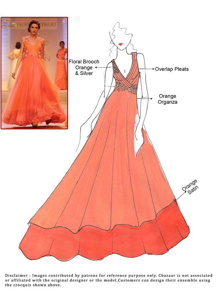 DIY Orange Organza Floor Length Anarkali Suit