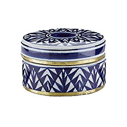 Lucie Kaas keramik-lågkrukke blå 400 kr.